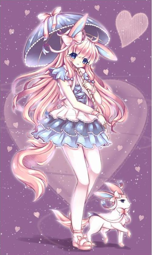 动漫人物桃花粉色女生