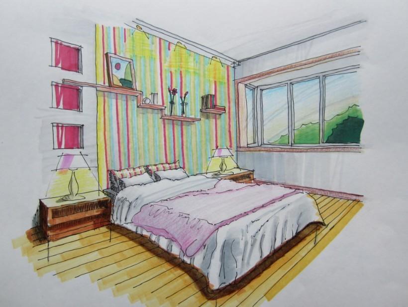 欧式主人卧室手绘图