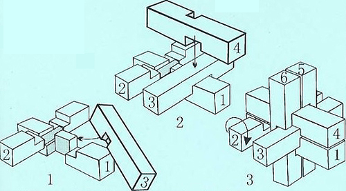 组装六柱孔明锁的解法三