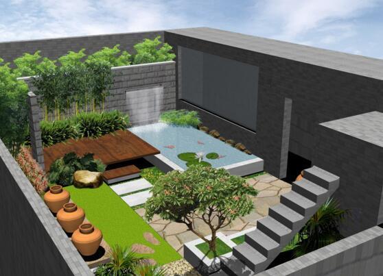 小庭院水景设计图