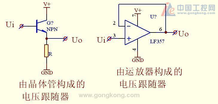 在电路中,电压跟随器一般做缓冲级及隔离级
