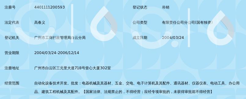 福州福大自动化科技有限公司广州白云分公司_