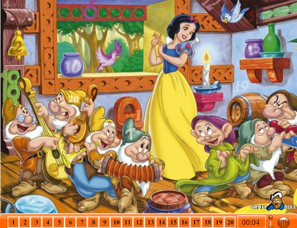 在游戏中美丽的白雪公主和小矮人在森林里与小动物们